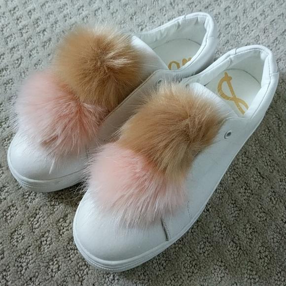 f4fdc237d0ff48 Leya Laceless Platform Sneaker w Faux Fur Pom Poms